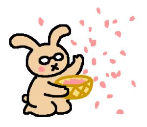 桜の花びらを巻くうさぴこ