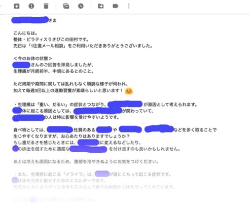 1往復メール相談のお返事の例