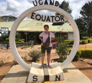 Susan Fowler-Kerry at the equator in Uganda