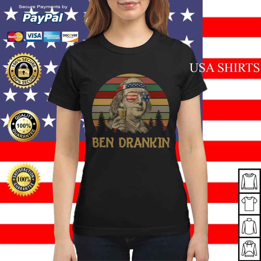 Ben Drankin beer 4th Of July vintage Ladies tee