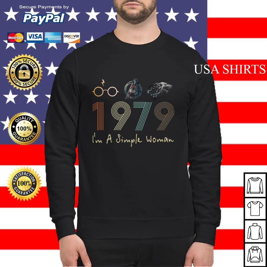 I'm a simple woman Harry potter Avengers and Game of Thrones 1979 Sweater