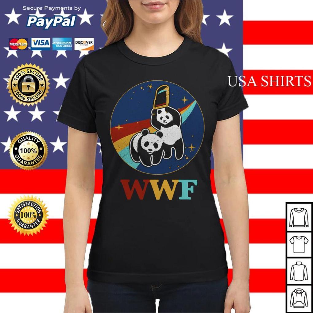 WWF panda bear Wrestling NASA Ladies tee