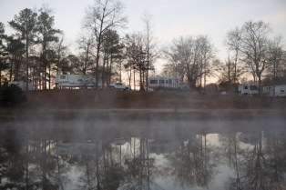Mist rising over the pond at dawn at Deer Run RV Park just north of Troy, AL. ©2017 Audrey Horn Photo / www.usathroughoureyes.com
