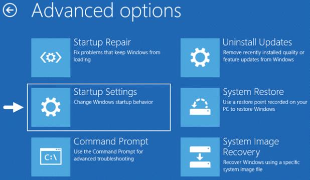 Windows Advanced Options Startup settings