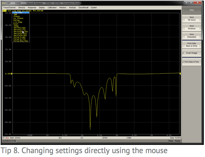 Tip 8: Changing settings directly using the mouse