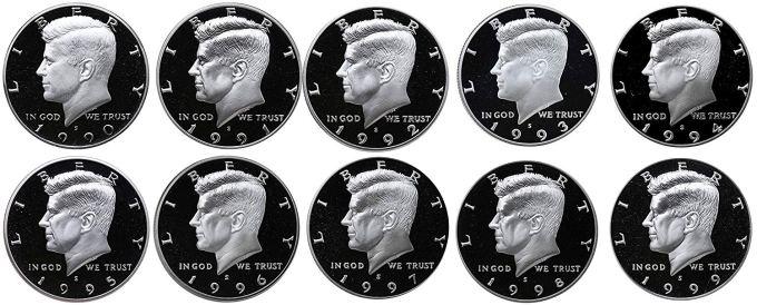 1990-S Through 1999-S Proof Kennedy Half Dollar