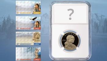 NGC Sacagawea Dollar 20th Anniversary Labels