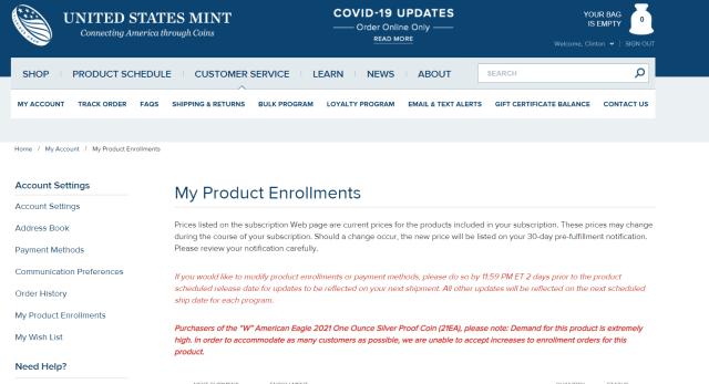 Enrollment Program Notification for 2021-W American Eagle silver Proof