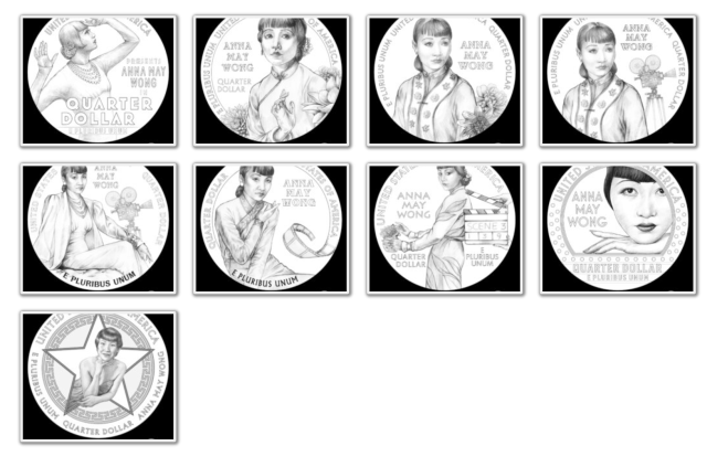 2022 Anna May Wong American Women Quarter Series Design Candidates (Images Courtesy of CCAC)