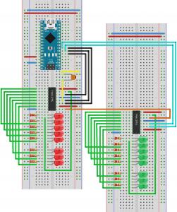 Подключение сдвиговых регистров 74HC595 каскадом