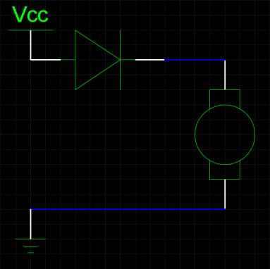 Выпрямительный диод в цепи с мотором