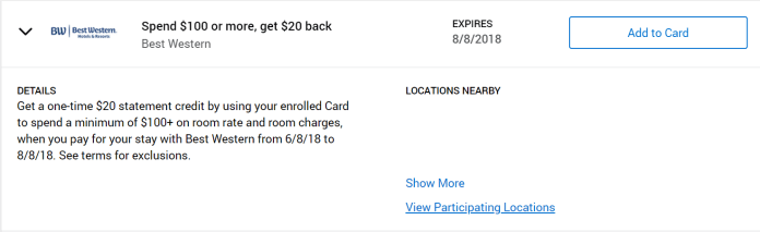 Amex-Offer-Best-Western-20-off-100