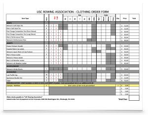 Order form Spirit wear USC Rowing CREW