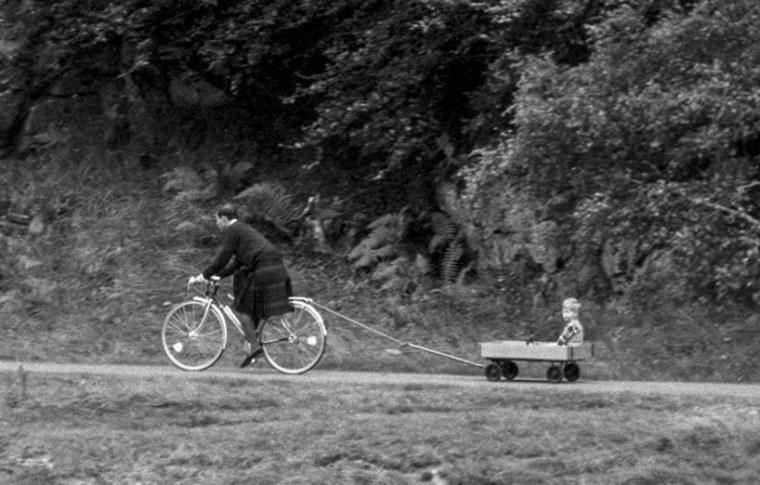 Prince Charles And Harry Riding Bicycle Balmoral