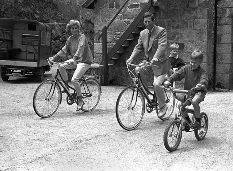 Princess Diana Prince Charles William Harry Riding Bicycles Photo