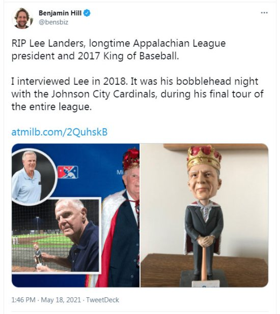 Lee Landers was the former Appy League president who passed away at 83
