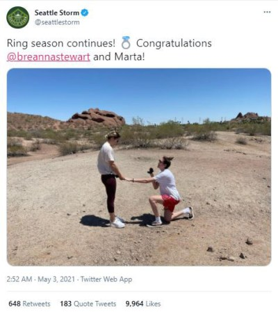 Breanna Stewart and Marta Xargay engaged after the Seattle Storm star proposed to her girlfriend, Phoenix Mercury guard