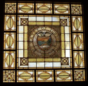 Stained glass ceiling of the Oregon Supreme Court. Photo by M.O. Stevens