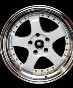 MST wheels MT07 White Machined Lip Gold Rivets