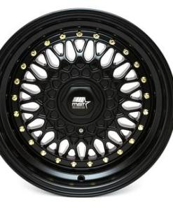 MST wheels MT13 Matte Black Gold Rivets