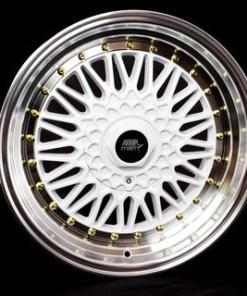 MST wheels MT13 White Machined Lip Gold Rivets