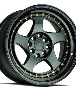 AH01 AH01 16X8 4X100/114.3 Gloss Black Gold Rivets