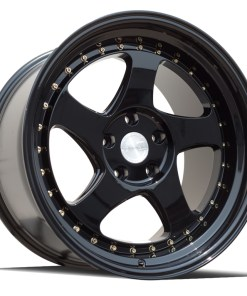 AH01 AH01 18X10.5 5X114.3 Gloss Black Gold Rivets