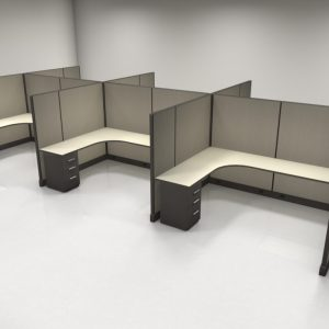 "67"" High Cubicles 6x8, 1 File"