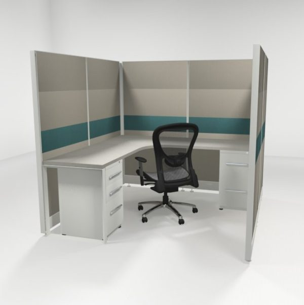 """6X6 67"""" Tiled Cubicles with One File"""