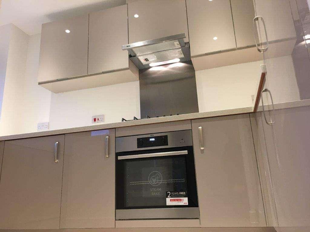 Symphony Kitchen Gloss Cashmere Marble Effect Laminate Appliances