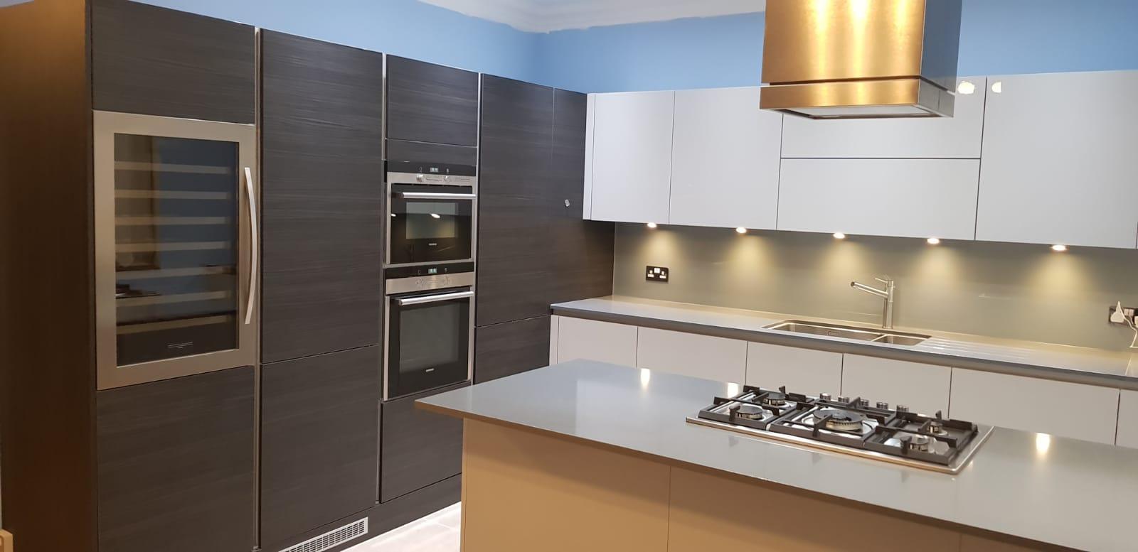Modern Kitchen Wood Effect Light Grey Composite