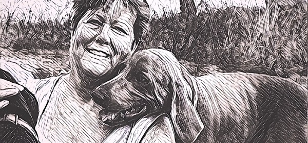 Linda Lewellen hiking with her dog, Peanut