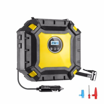 Portable Air Compressor Pump With Gauge. Compact but very powerful, durable and sturdy, LED lights for nighttime use.