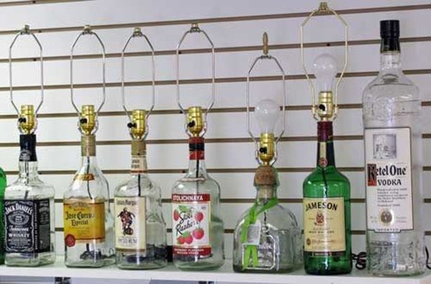 ALCOHOL Bottles Recycled Into Interesting Looking Lamps