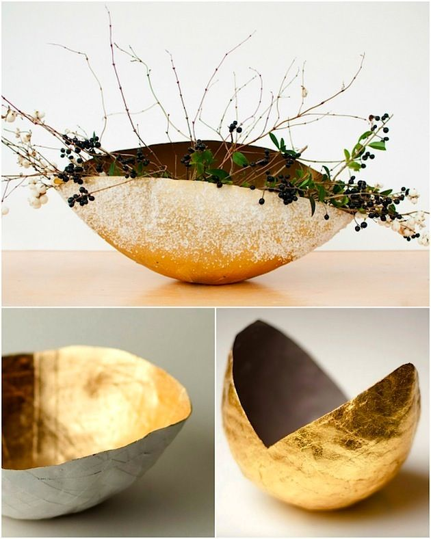 40 diy paper mache ideas to take on useful diy projects dipped in gold paper mache flower vase mightylinksfo