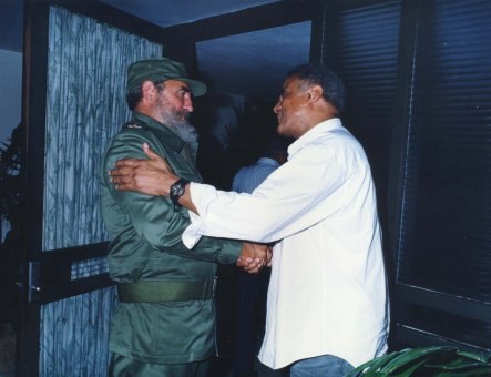 Left to right: Fidel Castro with Harry Belafonte