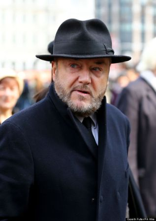 George Galloway arrives for the funeral of former Labour cabinet minister Tony Benn at St Margaret's Church, Westminster, central London.