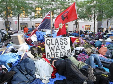 10/10/11 New York Broadway and Liberty AV . .A protest on Wall Street is in 4 weeks, with more people showing up every day. The group is still working on its message, and it doesn't really have any demands. But the protesters say they are tired of struggling to make a living while the big banks get help from the government. Original Filename: Wall st Protest 21.JPG