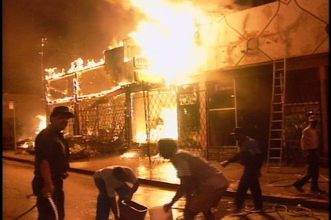 (FILE FOOTAGE) April 29, 2012 marks the 20th anniversary of the Los Angeles Riots, when a jury acquitted three white and one hispanic LAPD officers in the beating of Rodney King following a high-speed pursuit. Thousands of people rioted in LA over the six days following the verdict.
