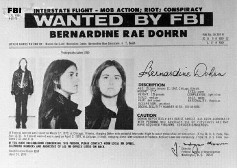 """14 Oct 1970 --- Washington: Replacing one woman with another, the FBI, October 14, added to its 10 Most Wanted list of fugitives, Bernardine Rae Dohrn, (shown in FBI flier), a self-proclaimed Communist revolutionary who advocates widespread terrorist bombings. In putting her on the list in place of the captured Black militant, Angela Davis, the FBI described Miss Dohrn, 28, as a reputed underground leader of the """"Violence-Oriented Weatherman Faction of Students for a Democratic Society"""". --- Image by © Bettmann/CORBIS"""
