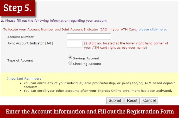 Step 5 Enter your Account Information and Fill out the Registration Form