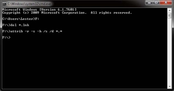 Step 5 Enter the command to change the file attributes back to original 2