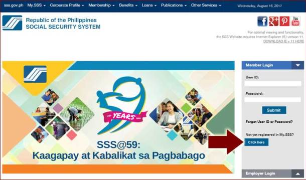 Step 1 SSS Website for Registration