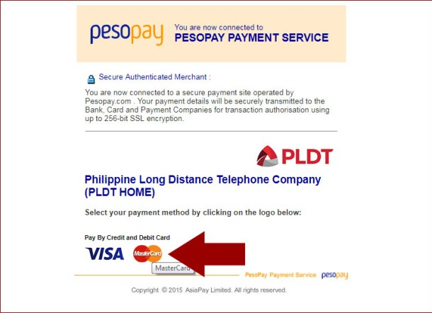 Third Step - Visa or MasterCard