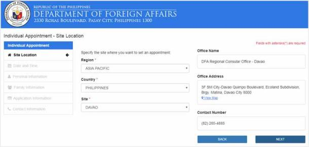 Step 2 - Select a DFA Regional Office