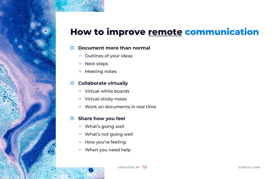 improve remote communication