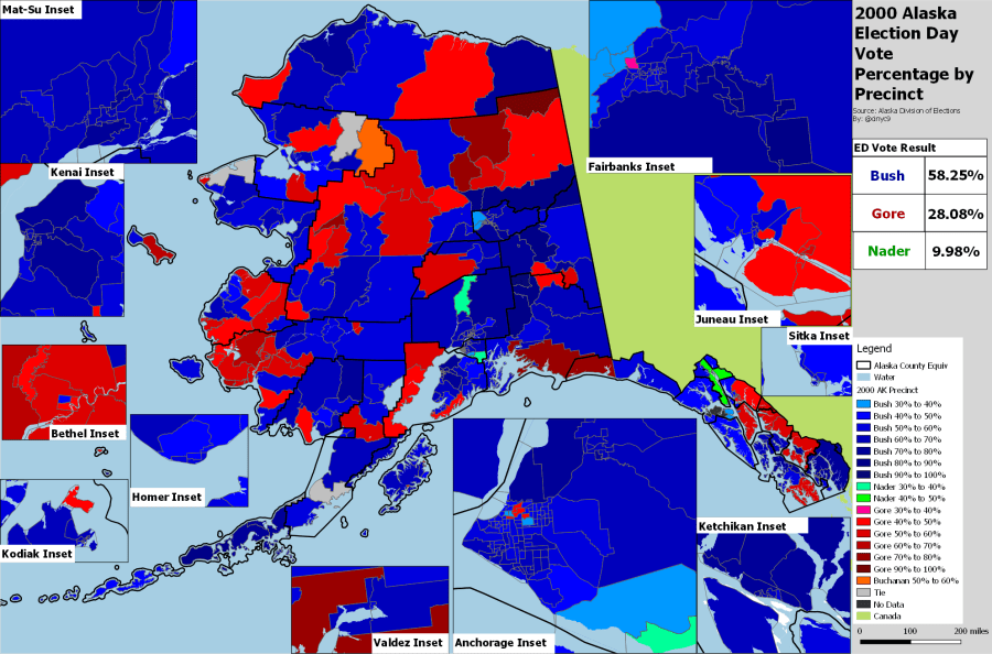 Historic Alaska Presidential Results Megathread The 2004 Bush v  Kerry race wasn t even close  as the map confirms  But  because of the lack of a Nader split vote  Kerry won more precincts in  traditionally