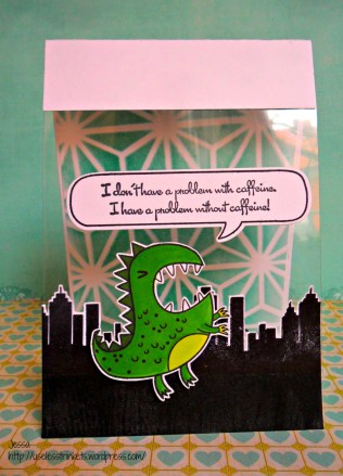 Challenge up your Life_CUYL#14_Durchsichtiges Elemeent Inkadinkado Coffee and Tea My Cute Stamps Eek! A Monster coffee addicted card