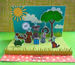 Lawn Fawn Critters in the Burbs Birthday Card - Pop up Stage card Critter Birthday detail
