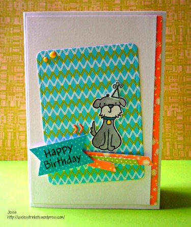 Lawn Fawn Critters in the Burbs Birthday Card - Pop up Stage card outside